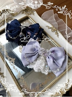 Elegant Mermaid Dark Blue Lolita Train / Bonnet / Hairclip by Bodhi Lolita