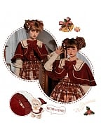 Christmas Teddy Lolita Dress Matching Cape by B.Dolly