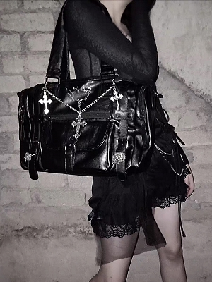 Halloween Gothic Black Shoulder Bag by Blood Supply