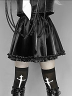 Broken Machine Gothic Ruffle Hem PU Skirt by Blood Supply