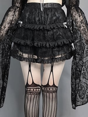 Dim Feast Gothic Tulle Flounce Skirt by Blood Supply