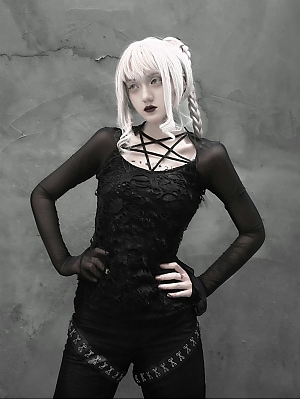 Gothic Pentagram Neckline Net Yarn Punk Long Sleeve T-shirt by Blood Supply