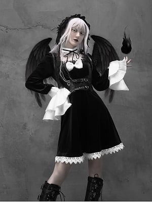 Gothic Lace Velvet Lantern Sleeve Dress and Matching Girdle by Blood Supply