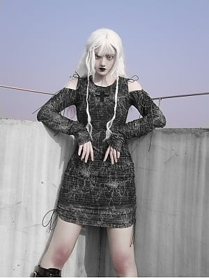 Gothic Cobweb Punk Lace-up Mini Dress by Blood Supply