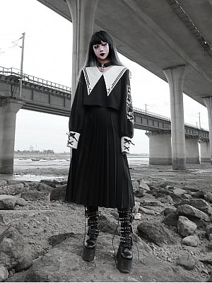 Kill the Nun Gothic Sailor Collar JK Long Skirt Uniform Outfit Full Set by Blood Supply