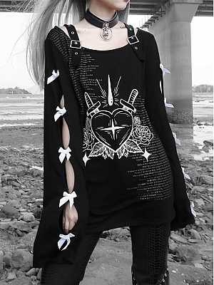 Gothic Print Punk Hollow Bowknot Design Long Sleeve Sweatshirt by Blood Supply