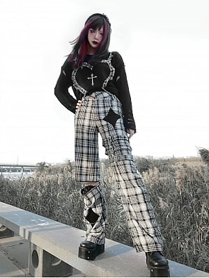 Punk Black and White Grid Hollow Trousers by Blood Supply