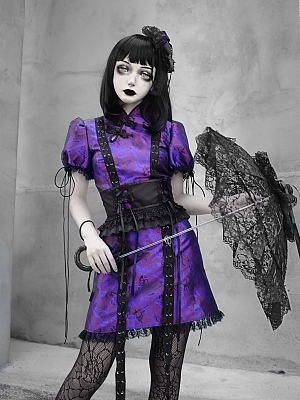 Purple Butterfly Dream Gothic Cheongsam Style Mini Dress and Matching Girdle by Blood Supply
