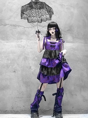 Purple Butterfly Dream Gothic Self-tie Cami Dress Matching Legwear Full Set by Blood Supply