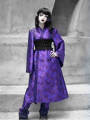 Gothic Dark Butterfly Pattern Lace Trim Long Cardigan and Matching Girdle Full Set by Blood Supply