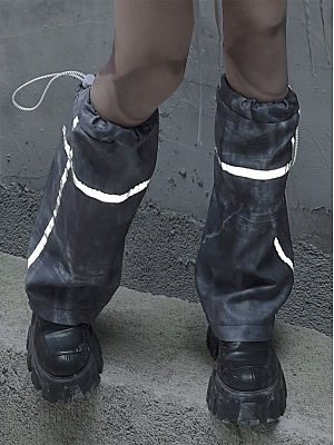 Cyberpunk Reflective Drawstring Print Legwear by Blood Supply