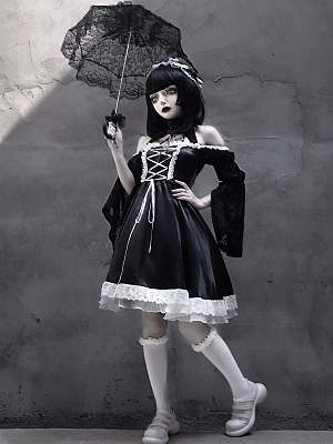 Choosing to Obey Gothic Lolita Maid Lace-up Dress by Blood Supply