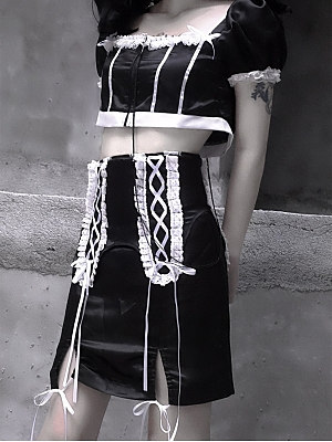Choosing to Obey Gothic Lolita Maid Lace-up Short Skirt by Blood Supply