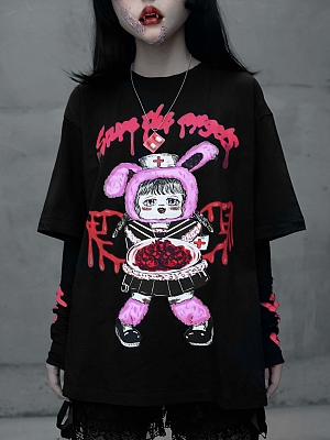 Gothic Bloody Print T-shirt With Separated Arm Wear by Blood Supply