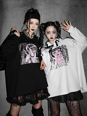 Gothic Print Oversize Couple Hoodie by Blood Supply
