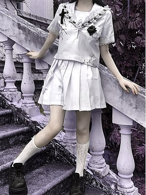 Gothic Butterfly Lace Trim Short Sleeves JK Uniform Full Set by Blood Supply