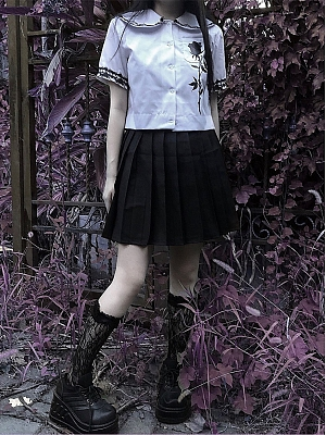 Gothic Voodoo Rose Print Peter Pan Collar Shirt Full Set by Blood Supply