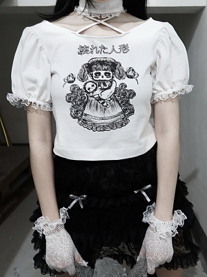 Lost Humanoid Gothic Halterneck Print Short Sleeves T-shirt by Blood Supply