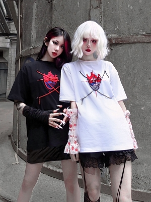 Gothic Heart Bondage Dark Bloody Embroidered Couple Short Sleeves T-shirt by Blood Supply