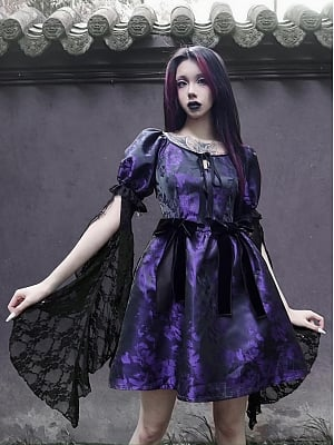 Gothic Round Neckline Lace Short Puff Sleeves Bowknot Short Dress by Blood Supply