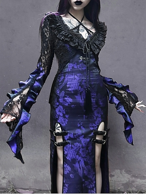 Gothic Long Sleeves Jacquard Lace Short Cardigan by Blood Supply