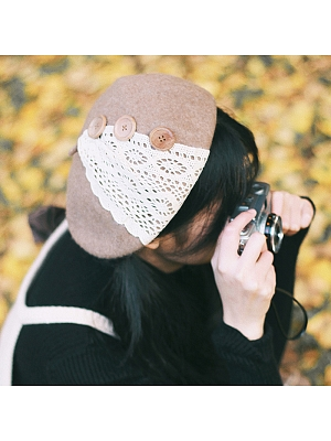 Handmade Lace Button Beret by Besozealous