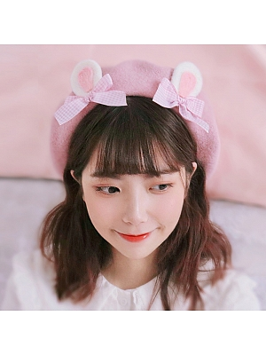 Handmade Pink Rabbit Ear Beret by Besozealous