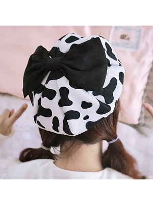 Handmade Cow Black and White Bow Beret by Besozealous