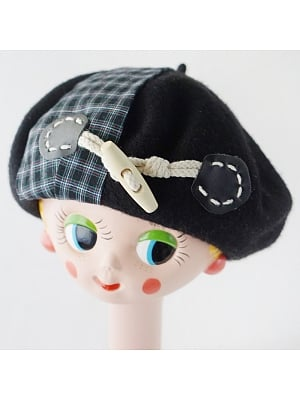 Handmade Black Horn Buckle Stitching Plaid Woolen Beret by Besozealous