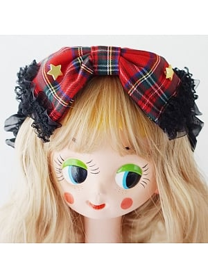 Handmade Plaid Big Bow Headband by Besozealous