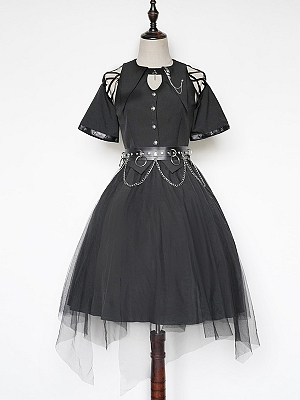 Praise of Black Crow Punk Lolita Cutout Shoulders Top / Skirt Full Set by Cat Highness