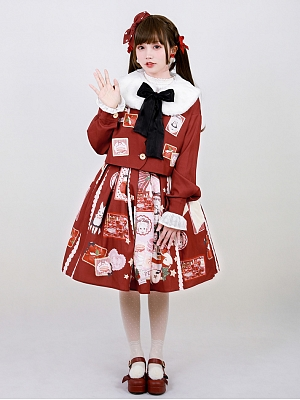 Apple Pie Red Lolita Skirt Top Set by Cat Can Lolita