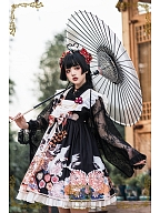 Thousands of Tsubaki Cranes Wa Lolita Lace Haori by CEL