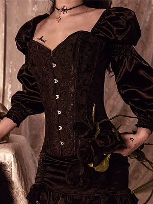 Gothic Steampunk Vintage Steel Boned Long Puff Sleeves Corset Top by Cosmic Girl