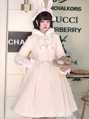 Pink Hooded Winter Lolita Coat by ChunLv Lolita