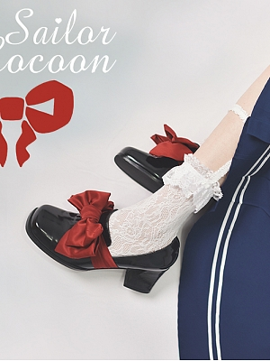Girl Sailor Big Bowknot Lolita Shoes by CAT COCOON