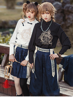Eastern Dragon and Southern Rosefinch Qi Lolita Embroidery Blouse by Castle Too