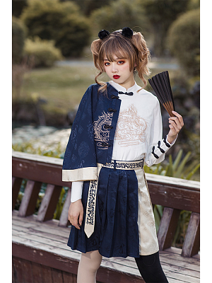 Eastern Dragon and Southern Rosefinch Qi Lolita Embroidery Top /Skirt by Castle Too