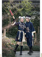 Eastern Dragon and Southern Rosefinch Qi Lolita Embroidery Ouji Top and Pants by Castle Too