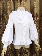 Lace Decorated Stand Collar Ruffled Lace Bodice Long Lantern Sleeves Lolita Chiffon Shirt by Dreaming and Burning the World