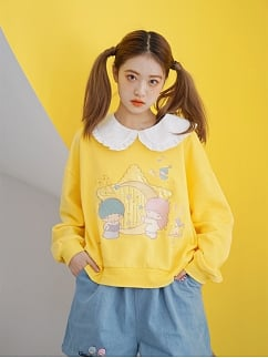 Sanrio Authorized Little Twin Stars Removable Peter Pan Collar Long Sleeves Sweatshirt by Dear Chestunt