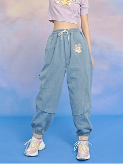 Sanrio Authorized Little Twin Stars Embroidered Denim Sweatpants by Dear Chestunt