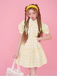Sanrio Authorized Little Twin Stars Waffle Short Puff Sleeves Plaid Dress by Dear Chestunt