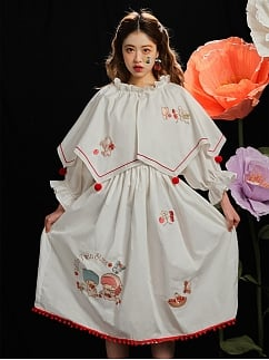 Sanrio Authorized Little Twin Stars Strawberry Farm Long Sleeves Embroidered Dress with Detachable Cape by Dear Chestunt