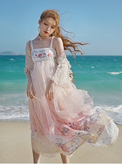 Sanrio Authorized Little Twin Stars Sky Lantern Palace Square Neckline Emboidered Han Cami Dress by Dear Chestunt