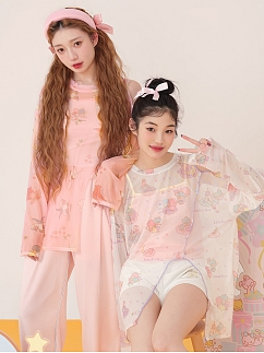 Sanrio Authorized Little Twin Stars Long Sleeves Pespective Mesh Slit Top by Dear Chestunt