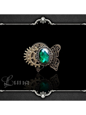 Handmade Gothic Steampunk Mechanical Ghost Gear Insect Emerald Ring by Dominum Gloria