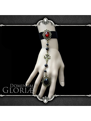 Handmade Gothic Queen of Hearts Finger Ring Bracelet by Dominum Gloria