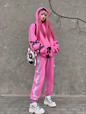 Bad Teddy Y2K Pink Long Sleeves Hoodie by Diamond Honey