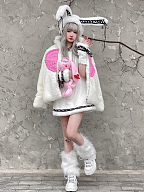 Love Story Harajuku Style Plush Padded Jacket by Diamond Honey